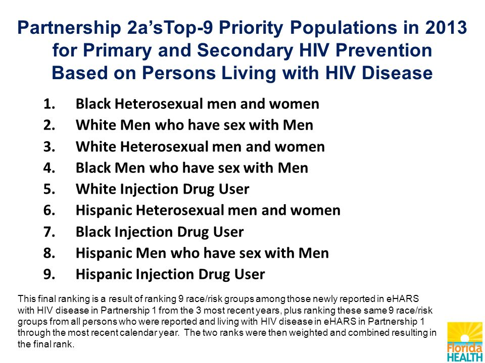 Partnership 2a'sTop-9 Priority Populations in 2013 for Primary and Secondary HIV Prevention Based on Persons Living with HIV Disease 1.Black Heterosexual men and women 2.White Men who have sex with Men 3.White Heterosexual men and women 4.Black Men who have sex with Men 5.White Injection Drug User 6.Hispanic Heterosexual men and women 7.Black Injection Drug User 8.Hispanic Men who have sex with Men 9.Hispanic Injection Drug User This final ranking is a result of ranking 9 race/risk groups among those newly reported in eHARS with HIV disease in Partnership 1 from the 3 most recent years, plus ranking these same 9 race/risk groups from all persons who were reported and living with HIV disease in eHARS in Partnership 1 through the most recent calendar year.