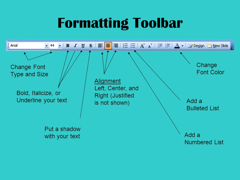 Formatting Toolbar Change Font Type and Size Bold, Italicize, or Underline your text Put a shadow with your text Alignment Left, Center, and Right (Justified is not shown) Add a Numbered List Add a Bulleted List Change Font Color