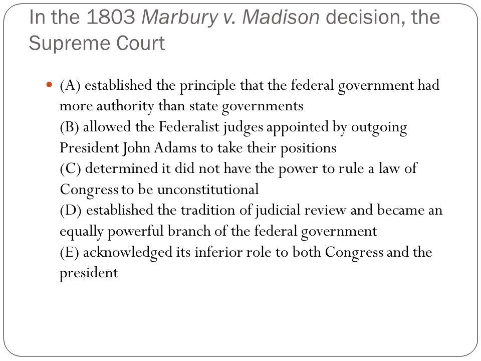 In the 1803 Marbury v.