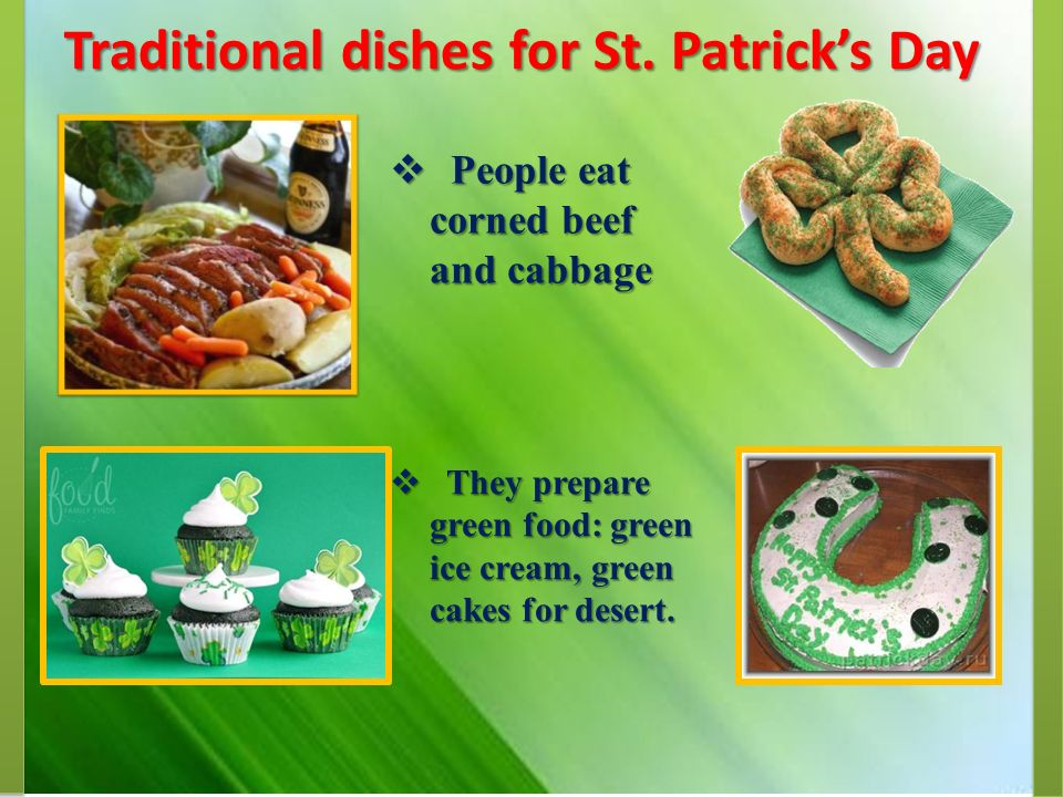 Traditional dishes for St.