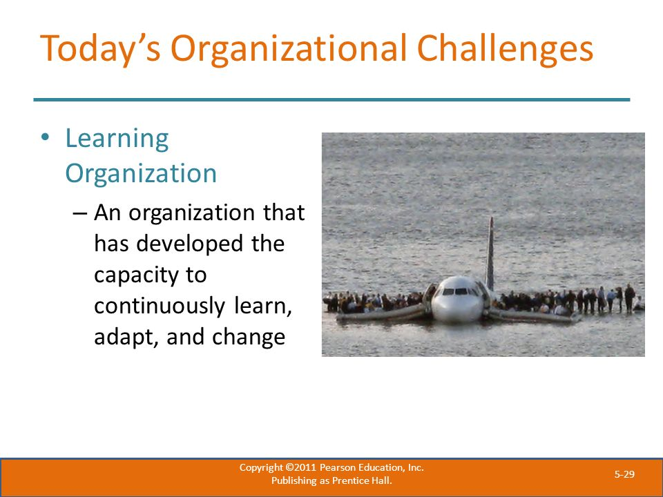 5-29 Today's Organizational Challenges Learning Organization – An organization that has developed the capacity to continuously learn, adapt, and chang