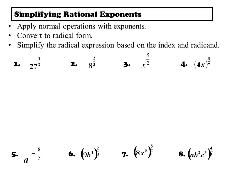 Simplifying Radicals Index Radical Radicand Steps for Simplifying ...