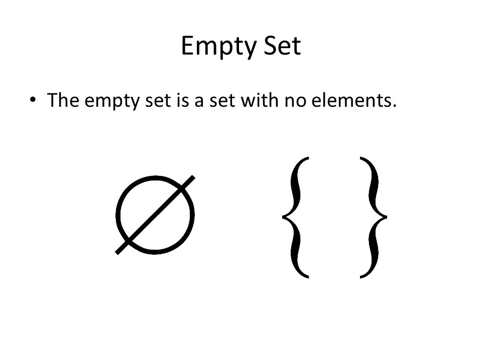 Empty Set The empty set is a set with no elements.