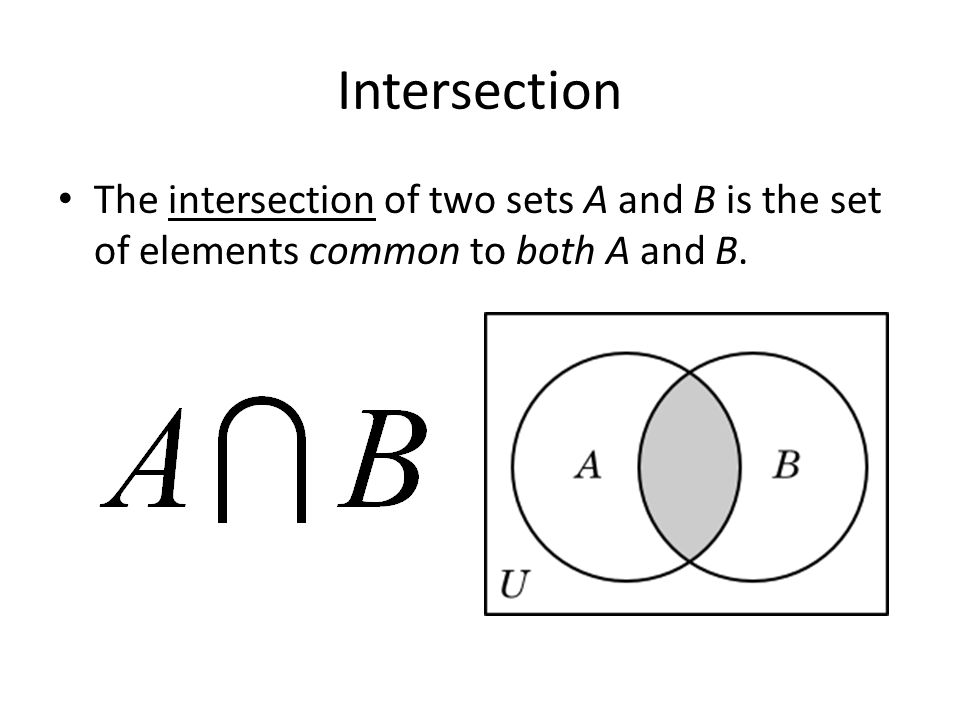 Intersection The intersection of two sets A and B is the set of elements common to both A and B.