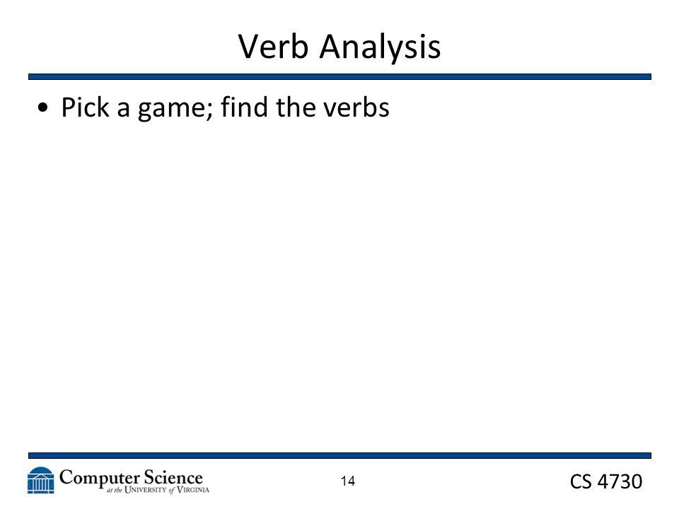 CS 4730 Verb Analysis Pick a game; find the verbs 14