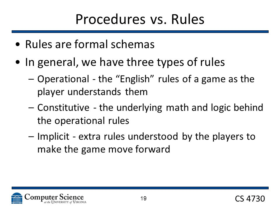 CS 4730 Procedures vs.