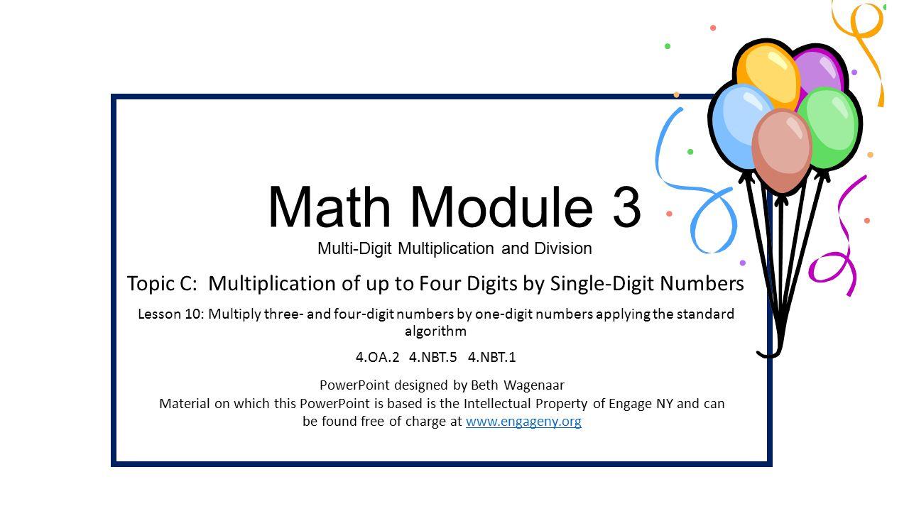 worksheet Single Digit Division math module 3 multi digit multiplication and division topic c 1 division