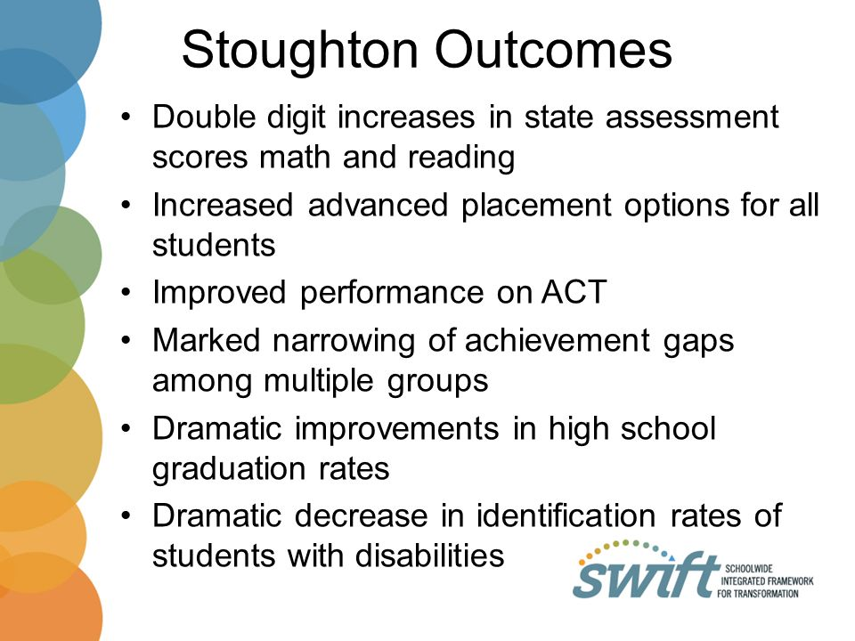 Stoughton Outcomes Double digit increases in state assessment scores math and reading Increased advanced placement options for all students Improved performance on ACT Marked narrowing of achievement gaps among multiple groups Dramatic improvements in high school graduation rates Dramatic decrease in identification rates of students with disabilities