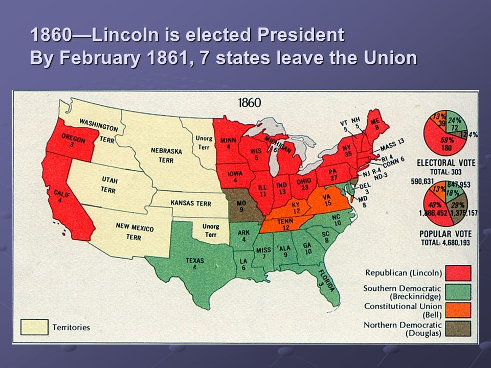 3 1860 Lincoln Is Elected President By February 1861 7 States Leave The Union