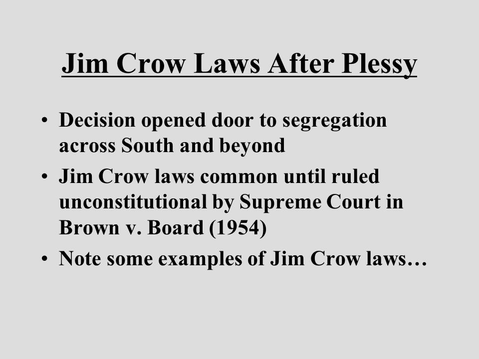 an analysis and interpretation of the jim crow laws Start studying ap gov chapter 17 learn jim crow laws deny to any person within its jurisdiction the equal protection of the laws by interpretation.