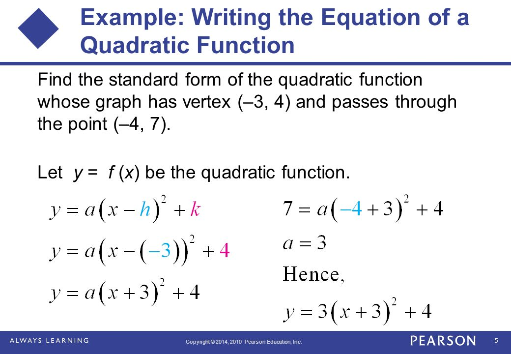 Find A Quadratic Function In Standard Form For Each Set Of Points