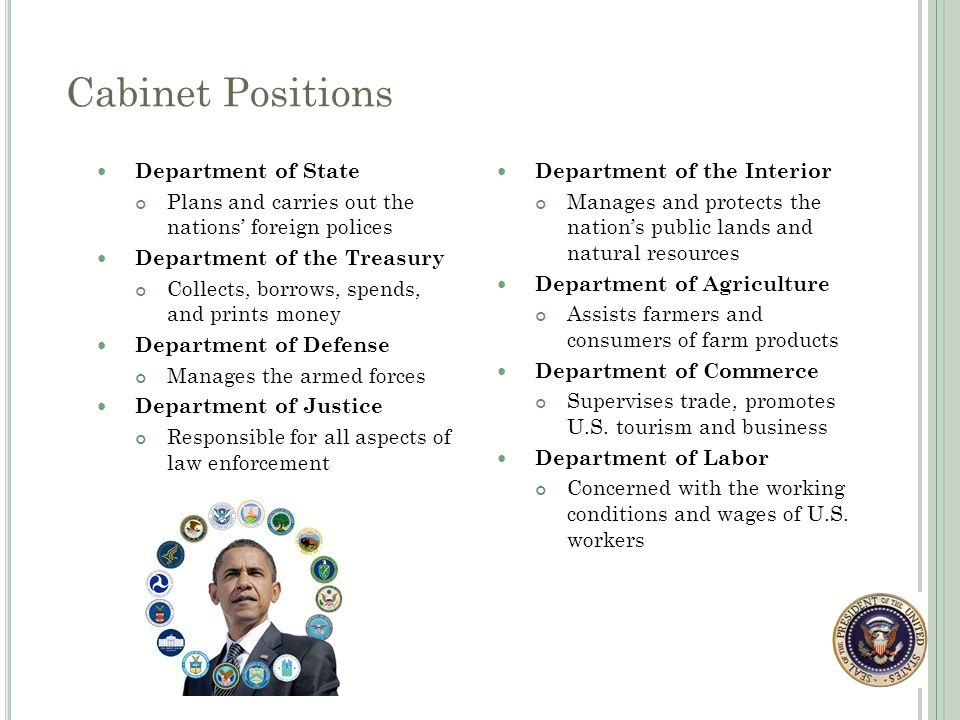 19 Cabinet Positions Department ...