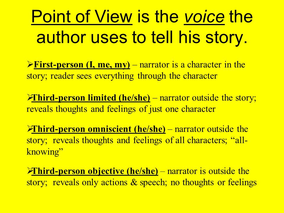 Point of View is the voice the author uses to tell his story.