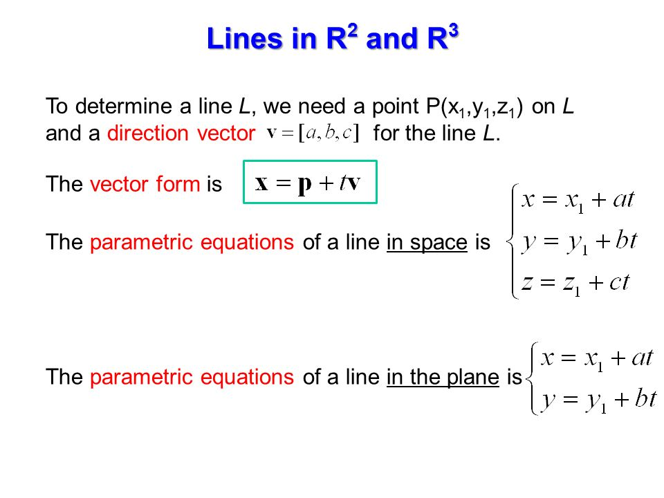 1.3 Lines and Planes. To determine a line L, we need a point P(x 1 ...