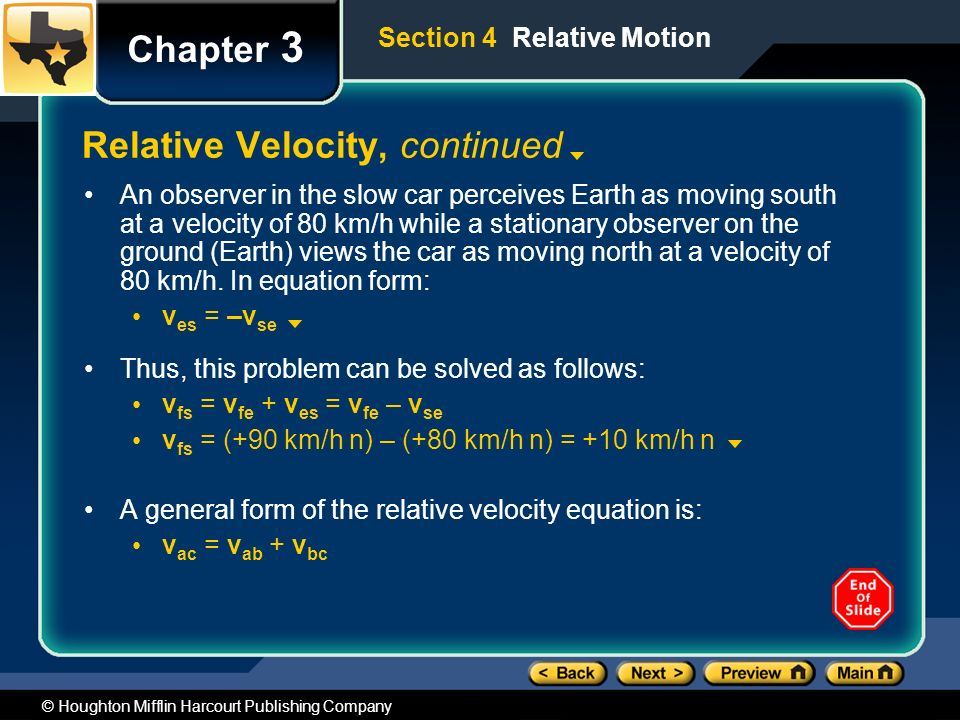 © Houghton Mifflin Harcourt Publishing Company Chapter 3 Relative Velocity, continued An observer in the slow car perceives Earth as moving south at a velocity of 80 km/h while a stationary observer on the ground (Earth) views the car as moving north at a velocity of 80 km/h.