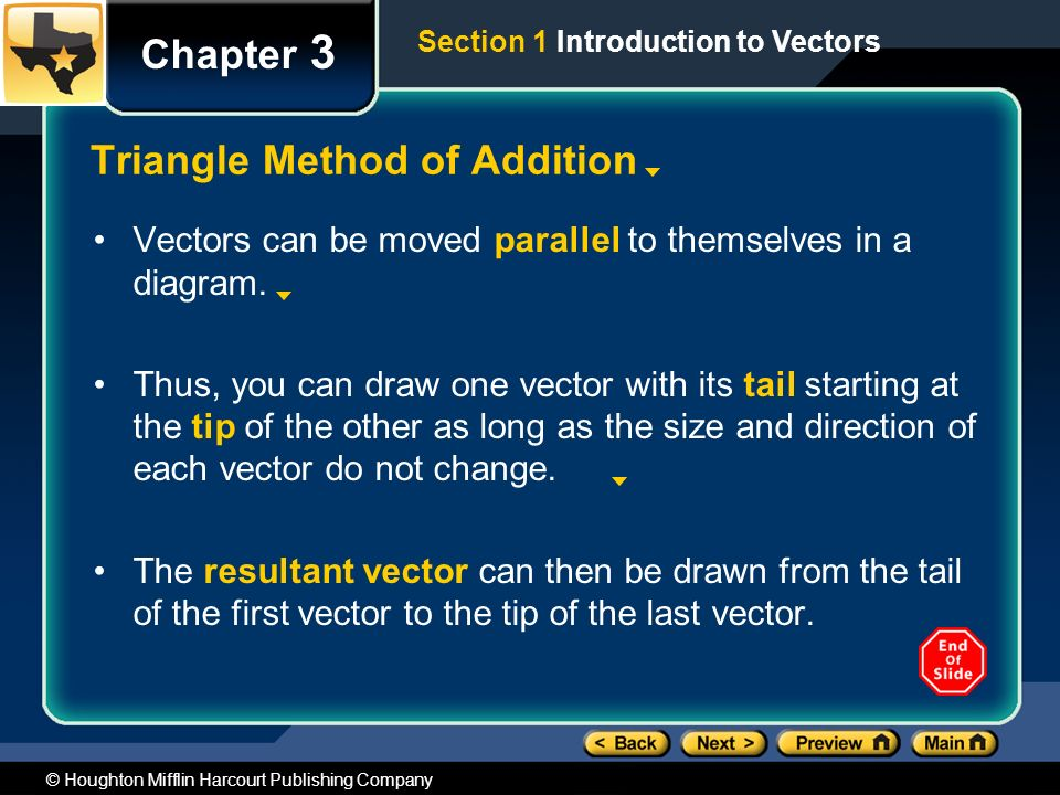 © Houghton Mifflin Harcourt Publishing Company Chapter 3 Triangle Method of Addition Vectors can be moved parallel to themselves in a diagram.