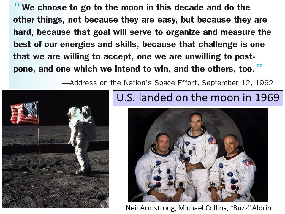 U.S. landed on the moon in 1969 Neil Armstrong, Michael Collins, Buzz Aldrin