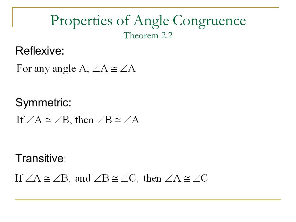 Properties of Angle Congruence Theorem 2.2 Reflexive: Transitive : Symmetric: