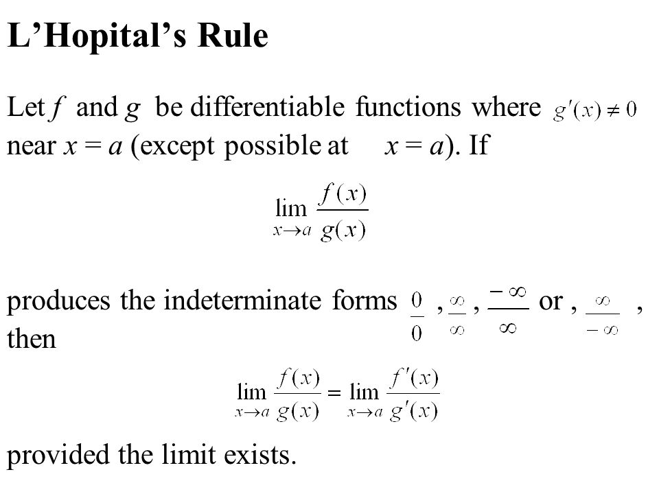 Section 4.5: Indeterminate Forms and L'Hospital's Rule Practice ...