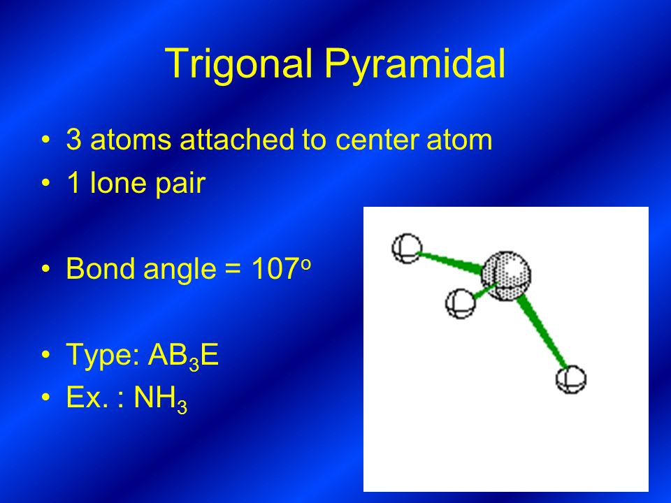 Trigonal Pyramidal 3 atoms attached to center atom 1 lone pair Bond angle = 107 o Type: AB 3 E Ex.