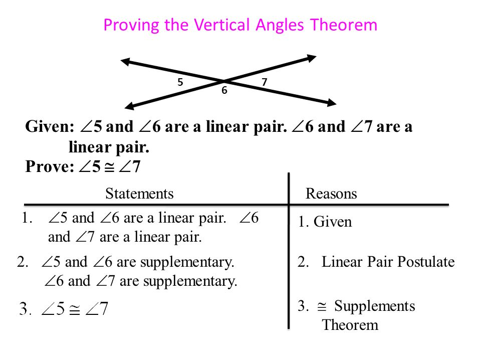Proving the Vertical Angles Theorem Given:  5 and  6 are a linear pair.