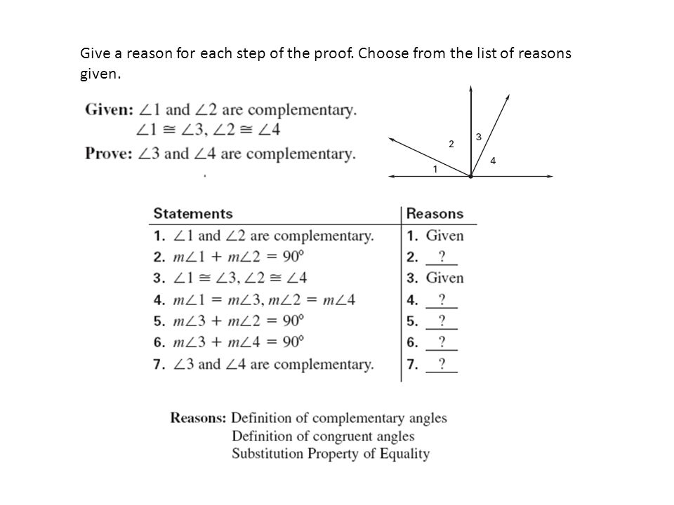 Give a reason for each step of the proof. Choose from the list of reasons given.