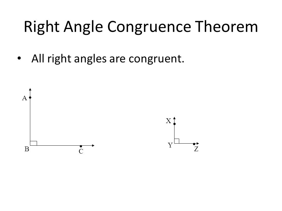 Right Angle Congruence Theorem All right angles are congruent..... A B C X Y Z