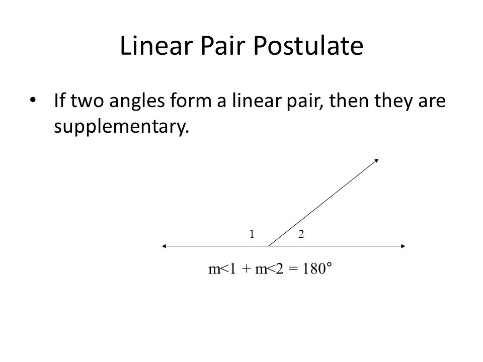 Linear Pair Postulate If two angles form a linear pair, then they are supplementary.