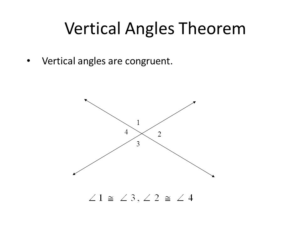 Vertical Angles Theorem Vertical angles are congruent