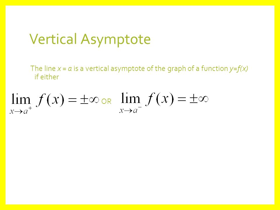 22 limits involving infinity objectives students will be able 19 vertical asymptote the line x a is a vertical asymptote of the graph of a function yfx if either or ccuart Choice Image