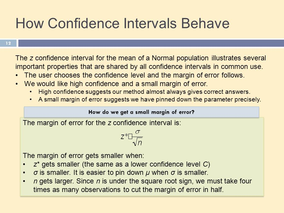 12 How Confidence Intervals Behave The z confidence interval for the mean of a Normal population illustrates several important properties that are shared by all confidence intervals in common use.