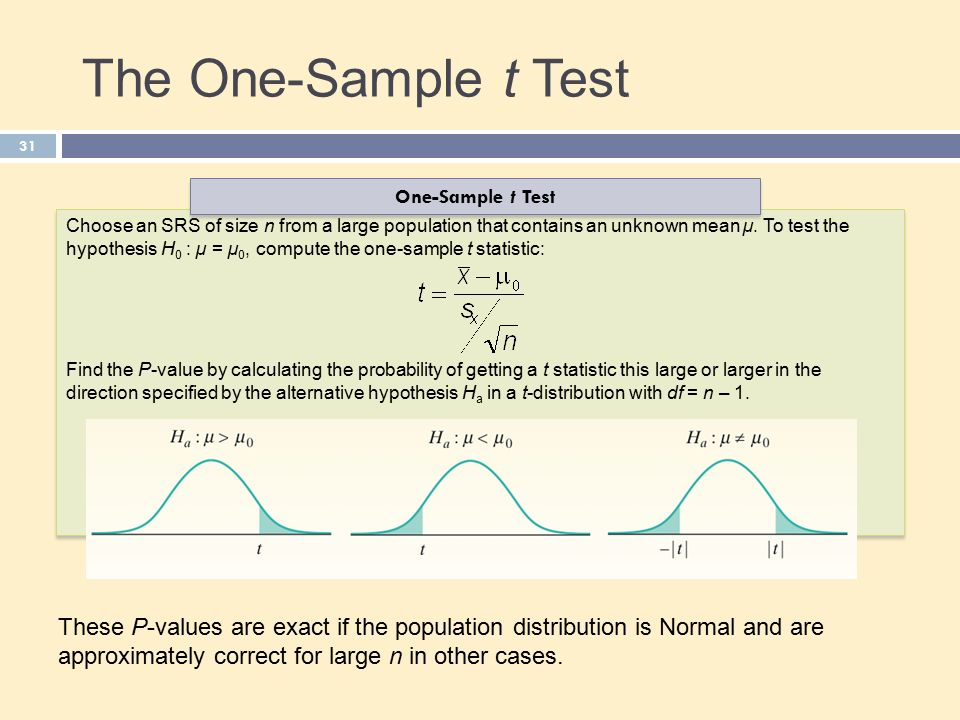 The One-Sample t Test 31 Choose an SRS of size n from a large population that contains an unknown mean µ.