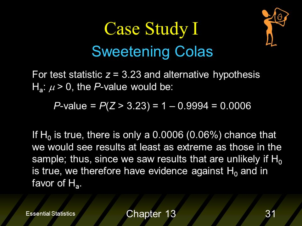 Essential Statistics Chapter 1331 Sweetening Colas Case Study I For test statistic z = 3.23 and alternative hypothesis H a :  > 0, the P-value would be: P-value = P(Z > 3.23) = 1 – = If H 0 is true, there is only a (0.06%) chance that we would see results at least as extreme as those in the sample; thus, since we saw results that are unlikely if H 0 is true, we therefore have evidence against H 0 and in favor of H a.