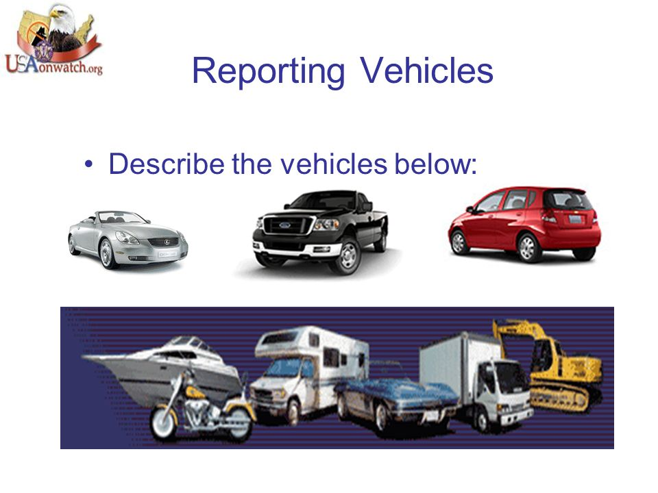 Reporting Vehicles Describe the vehicles below: