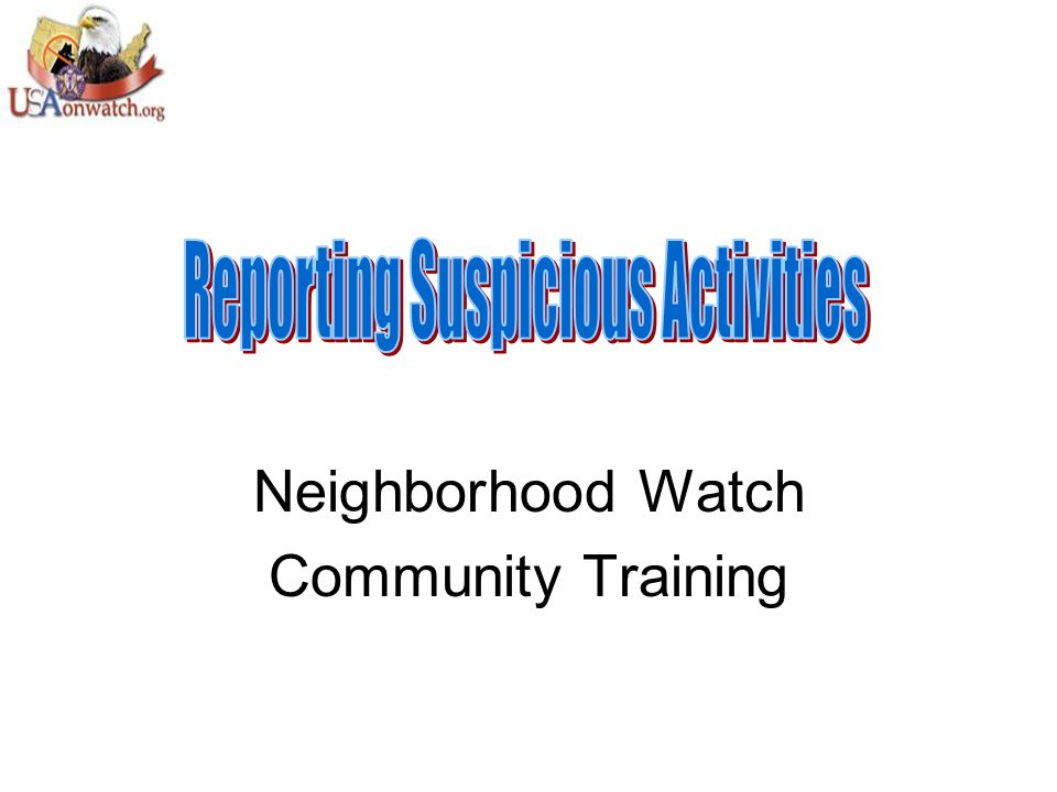 Neighborhood Watch Community Training