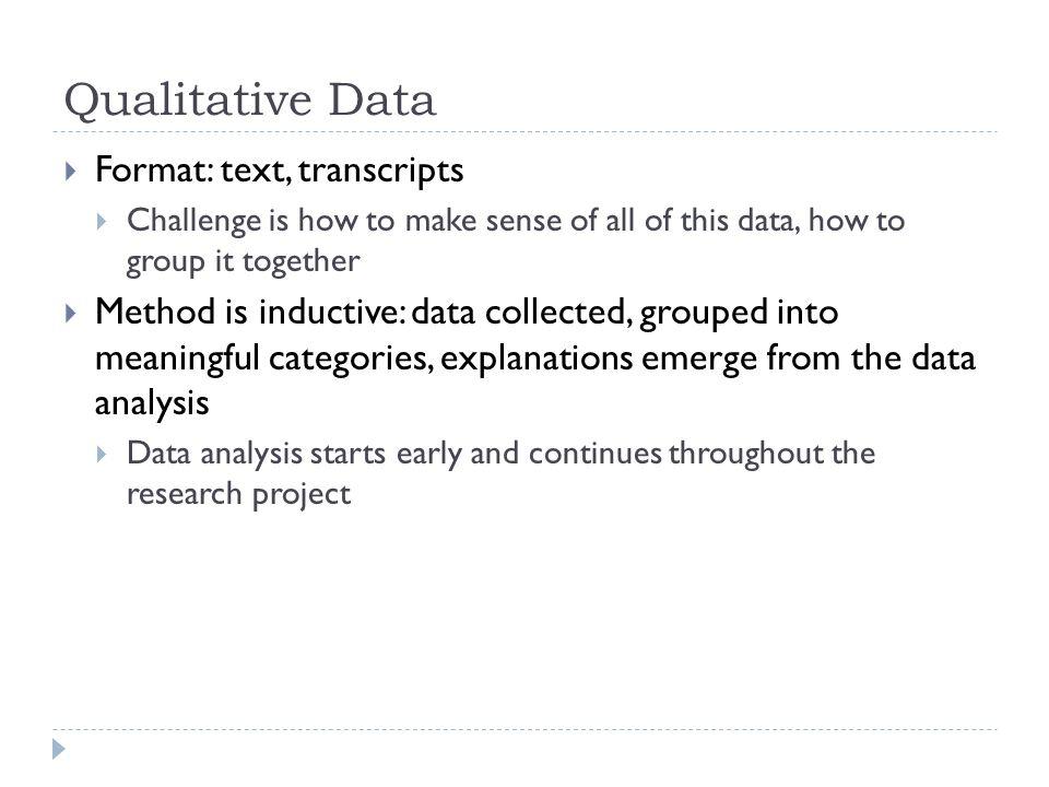 2 Qualitative Data  Format: ...  Data Analysis Format