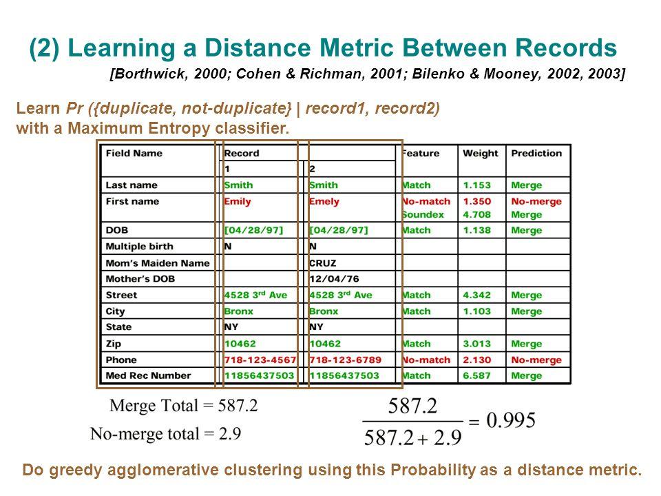 (2) Learning a Distance Metric Between Records [Borthwick, 2000; Cohen & Richman, 2001; Bilenko & Mooney, 2002, 2003] Learn Pr ({duplicate, not-duplicate} | record1, record2) with a Maximum Entropy classifier.