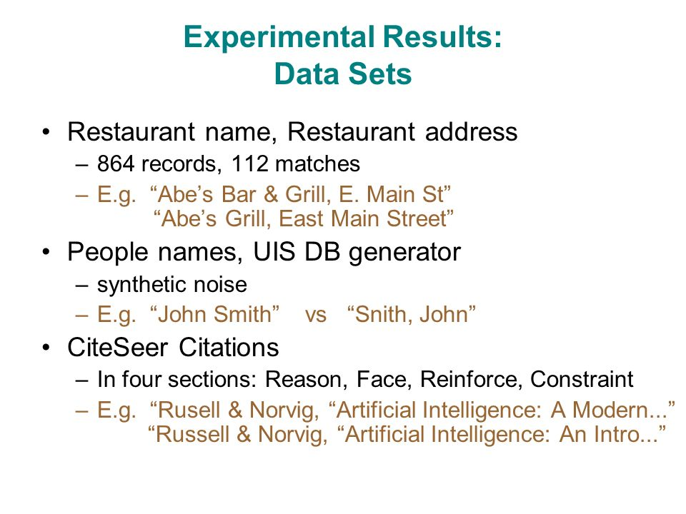 Experimental Results: Data Sets Restaurant name, Restaurant address –864 records, 112 matches –E.g.