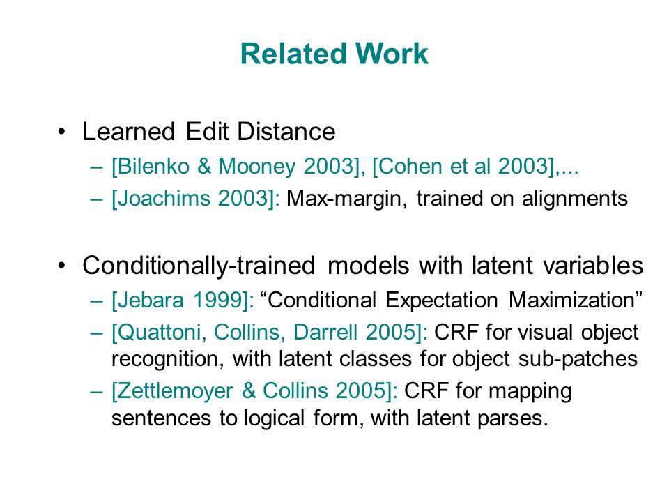 Related Work Learned Edit Distance –[Bilenko & Mooney 2003], [Cohen et al 2003],...