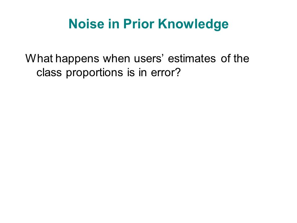 Noise in Prior Knowledge What happens when users' estimates of the class proportions is in error