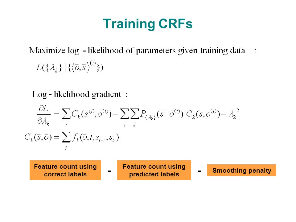 Training CRFs Feature count using correct labels Feature count using predicted labels Smoothing penalty --