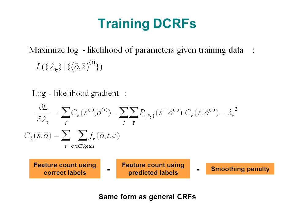 Training DCRFs Same form as general CRFs Feature count using correct labels Feature count using predicted labels Smoothing penalty --