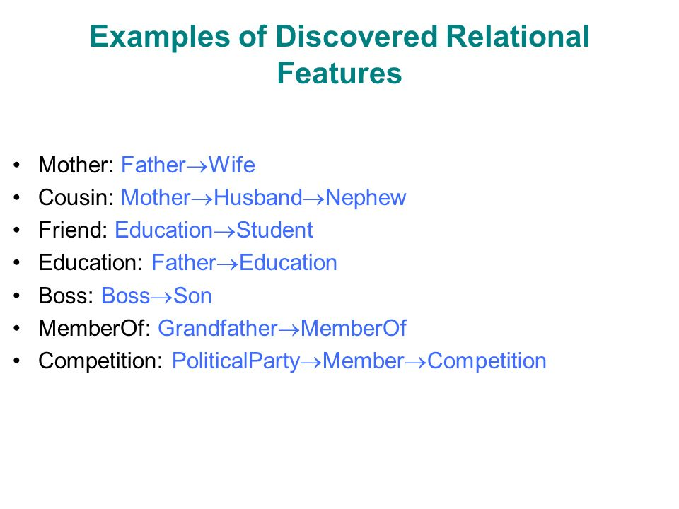 Examples of Discovered Relational Features Mother: Father  Wife Cousin: Mother  Husband  Nephew Friend: Education  Student Education: Father  Education Boss: Boss  Son MemberOf: Grandfather  MemberOf Competition: PoliticalParty  Member  Competition