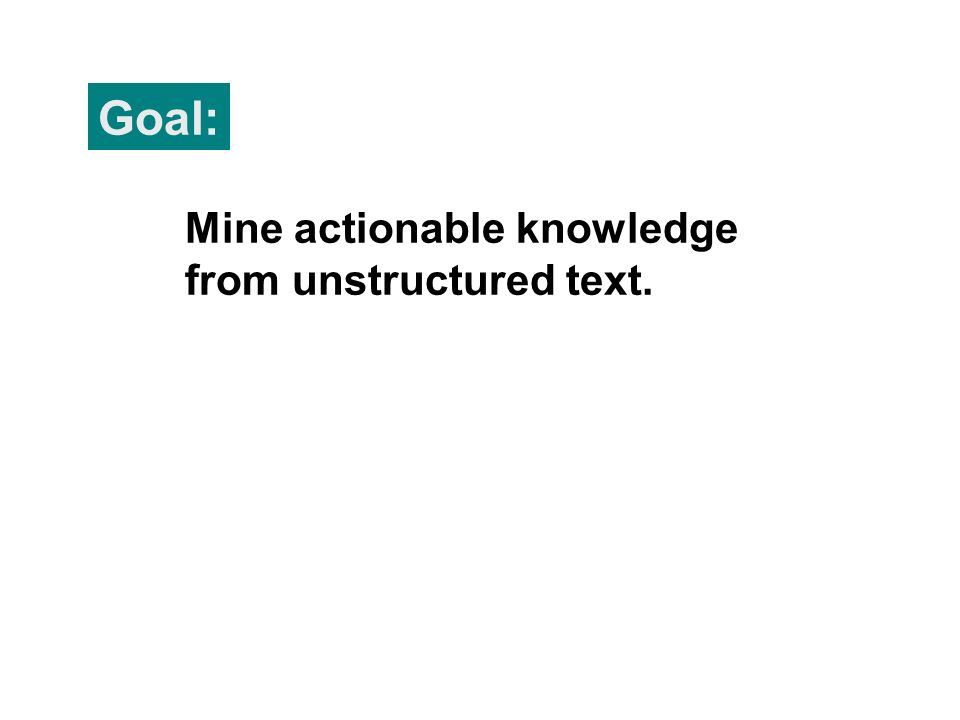 Goal: Mine actionable knowledge from unstructured text.