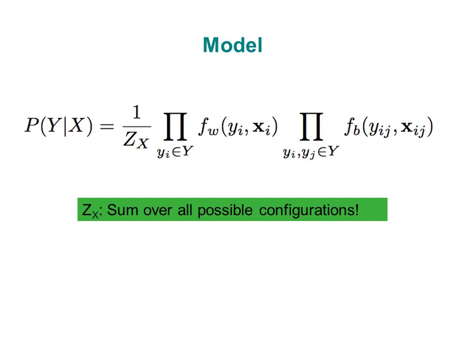 Model Z X : Sum over all possible configurations!