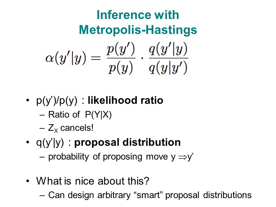 Inference with Metropolis-Hastings p(y')/p(y) : likelihood ratio –Ratio of P(Y|X) –Z X cancels.