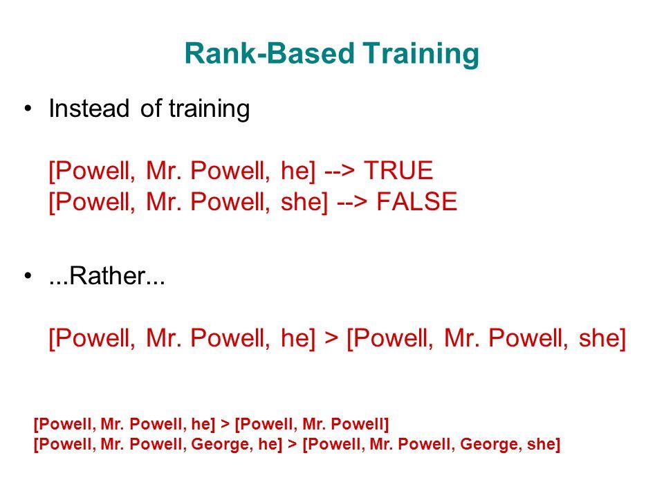 Rank-Based Training Instead of training [Powell, Mr.