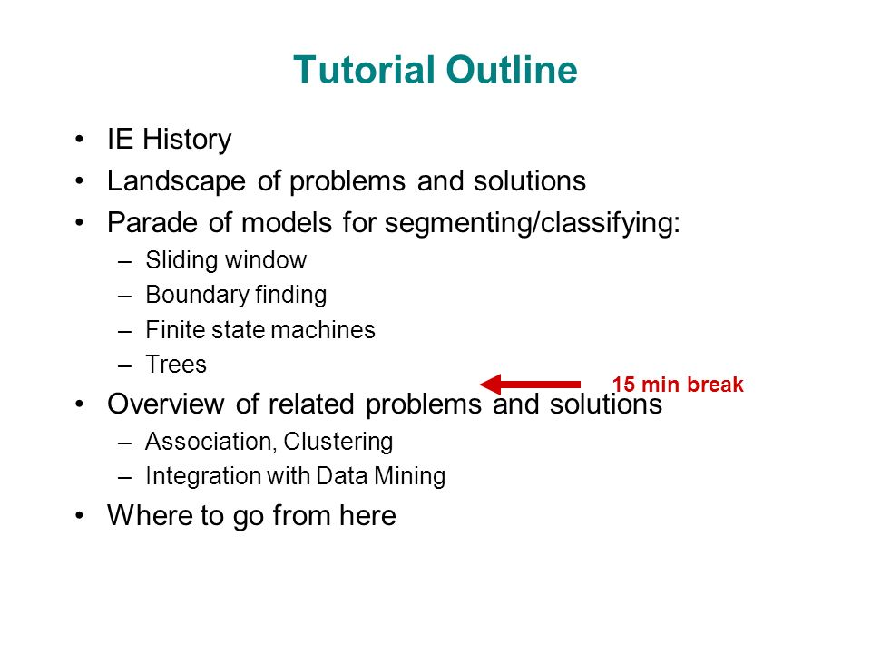 Tutorial Outline IE History Landscape of problems and solutions Parade of models for segmenting/classifying: –Sliding window –Boundary finding –Finite state machines –Trees Overview of related problems and solutions –Association, Clustering –Integration with Data Mining Where to go from here 15 min break