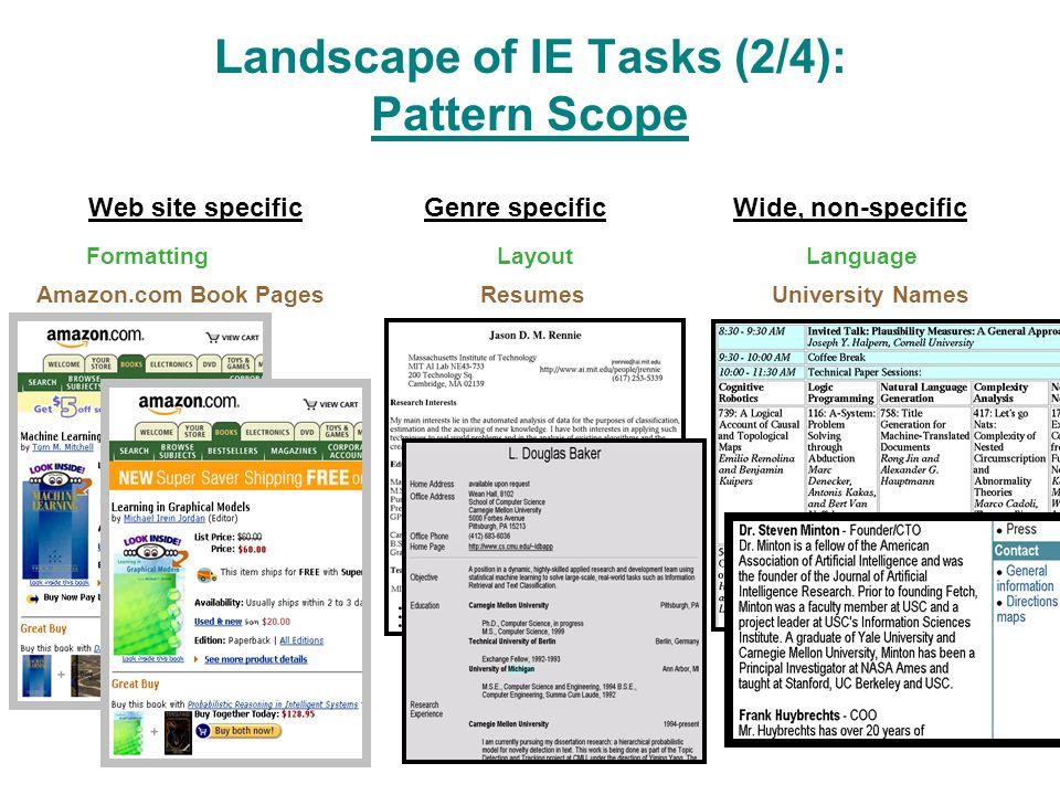 Landscape of IE Tasks (2/4): Pattern Scope Web site specificGenre specificWide, non-specific Amazon.com Book PagesResumesUniversity Names FormattingLayoutLanguage