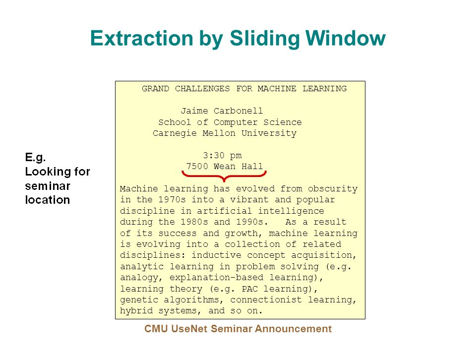 Extraction by Sliding Window GRAND CHALLENGES FOR MACHINE LEARNING Jaime Carbonell School of Computer Science Carnegie Mellon University 3:30 pm 7500 Wean Hall Machine learning has evolved from obscurity in the 1970s into a vibrant and popular discipline in artificial intelligence during the 1980s and 1990s.